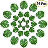 Kuuqa 36 Pcs Tropical Palm Leaves Party Decor Artificial Green Plant Imitation Leaf for Hawaiian Luau Aloha Party Jungle Theme BBQ Birthday Weedding Party Table Decorations Supplies 3 Sizes