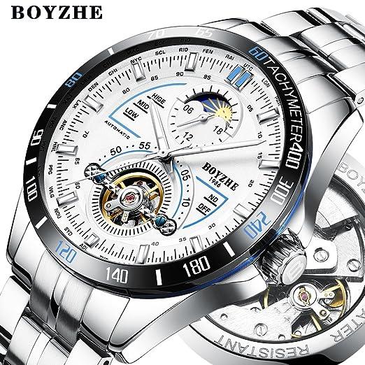 4002e30ff46e Reloj mecánico automático de lujo para hombre con función mensual y  giratorio