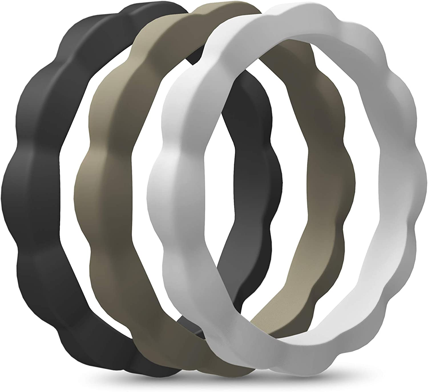 Single Pack 3mm Wide ASTERY Premium Flower Silicone Wedding Ring for Women-Stackable Thin Rubber Wedding Bands-3 Pack 5 Pack