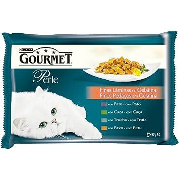 Gourmet Alimento para Gato, Húmedo, Finas Láminas en Gelatina - Pack de 4 x 85 g - Total: 340 gg: Amazon.es: Amazon Pantry