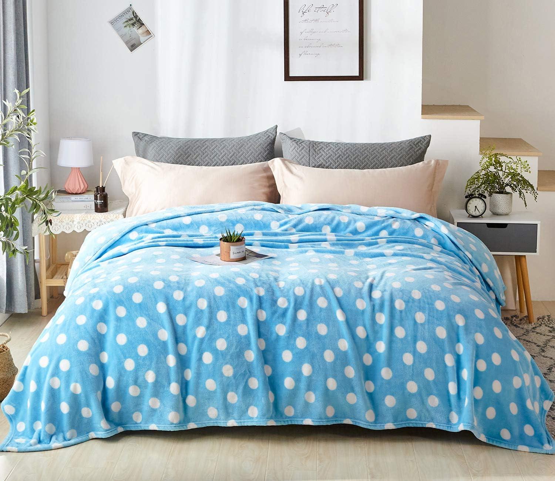 Twin, Blue Palka Dot Microfiber Fluffy Blanket for Couch ZYL Flannel Fleece Twin Blanket Lightweight All-Season Plush Blanket