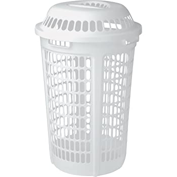 united solutions ln0009 white plastic two bushel laundry hamper with lid 2 bushel. Black Bedroom Furniture Sets. Home Design Ideas