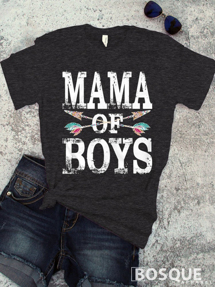 Colorful Mama of Boys T-Shirt / Unisex Shirt Distressed design with Arrow and Feather BoHo Style - Ink Printed