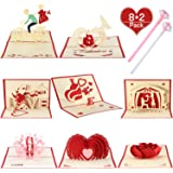 8 Pieces 3D Valentine's Day Pop Up Greeting Cards with 2 Heart Pen, Romantic Love Cards Handmade Heart Cards Birthday for Boyfriend, Girlfriend, Husband and Wife