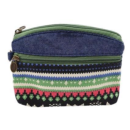 LnLyin - Monedero de estilo étnico con cremallera, bolsa de ...