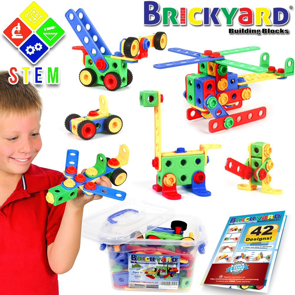 101 Piece STEM Toys Kit | Educational Construction Engineering Building Blocks Learning Set for Ages 3, 4, 5, 6, 7 Year Old Boys & Girls by Brickyard | Best Kids Toy | Creative Games & Fun Activities Review