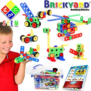101 Piece STEM Toys Kit   Educational Construction Engineering Building Blocks Learning Set for Ages 3 4 5 6 7 8 9 10 Year Old Boys & Girls by Brickyard   Best Kids Toy   Creative Games & Fun Activity