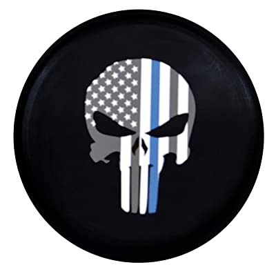 Kenkesh Skull Spare Tire Cover for RV, Jeep Wranglers, Boat Trailer. Choose from Multiple Designs with Flag & Crossbones. Rugged Weather Resistant Leather Grain Vinyl (XL(17 INCH), Skull 5): Automotive