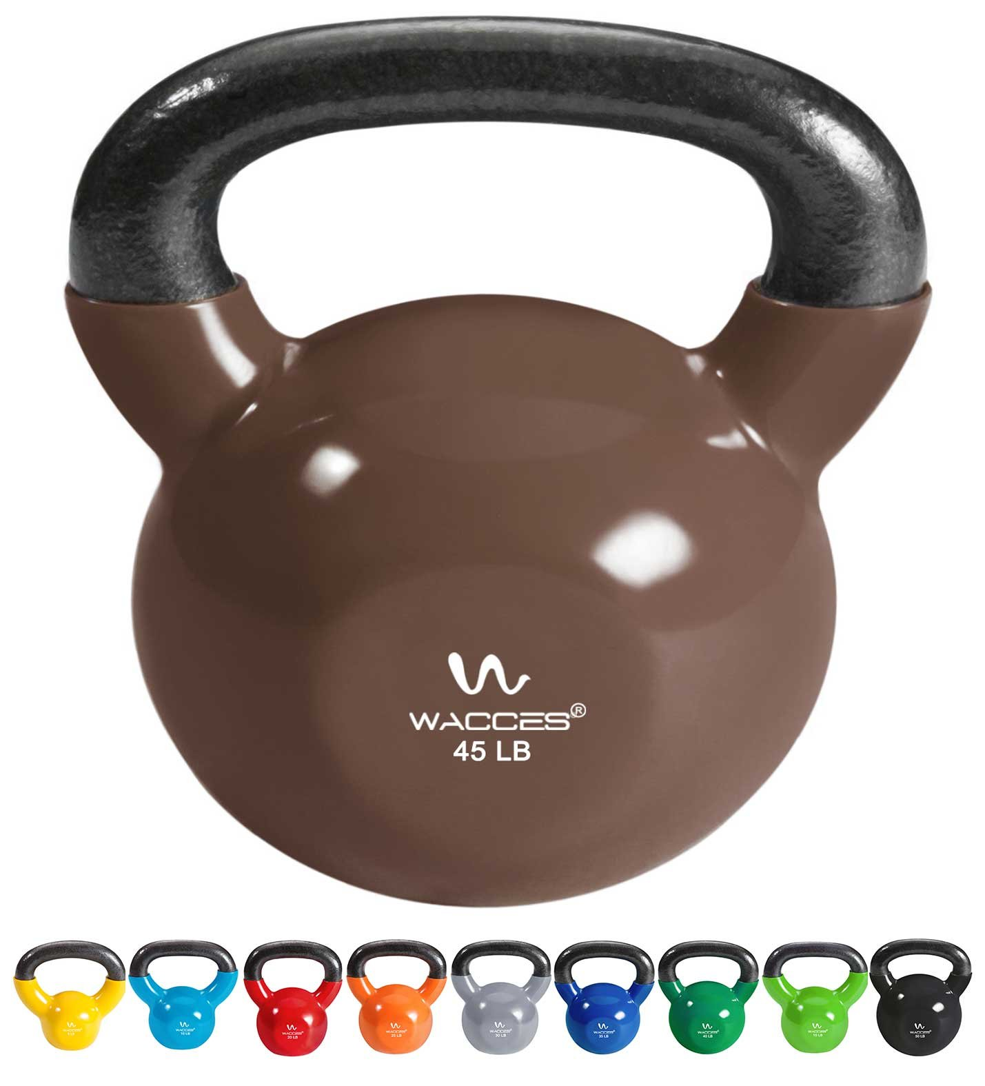 Wacces Single Vinyl Dipped Kettlebell for Croos Training, Home Exercise, Workout 45LB