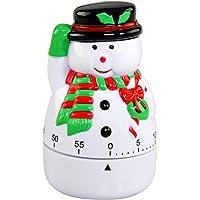 HOME-X Temporizador de cocina, manual, mecánico de viento temático de invierno – Muñeco de nieve, 3.75 pulgadas de alto