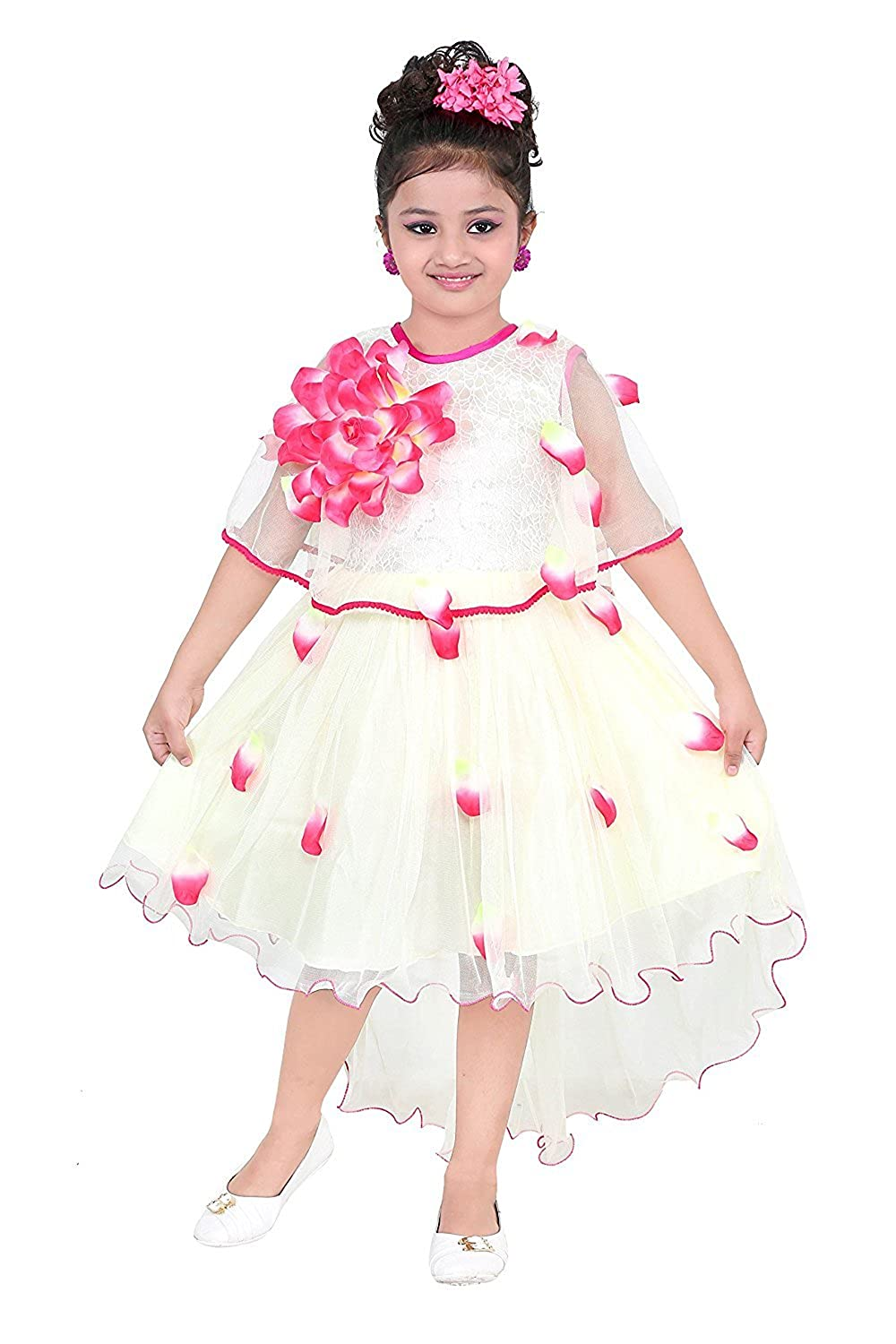 YAYAVAR Girls Net Made Off White & Lime Red Colored Casual/Party Wear Frock for Girls - Set of 01 from 02-08 Years