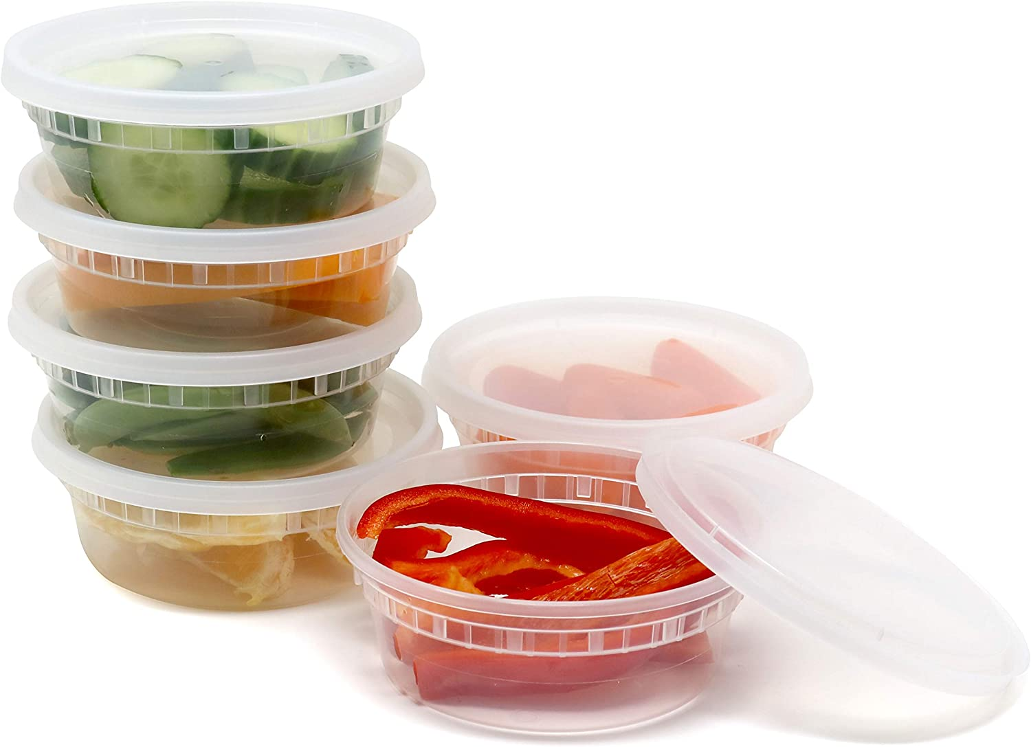 Plastic Food Storage Containers with Airtight Lids 8 oz. - BPA Free, Restaurant Deli Cups, Foodsavers, Portion Control, and Meal Prep Containers, 48 Pack