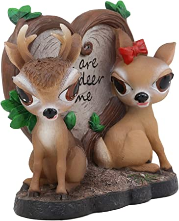 Amazon Com Ebros Valentines Romantic Love Deer Couple By Heart Shaped Plaque Decor Statue Deers Stag Bambi Elk Doe Rustic Wildlife Cabin Lodge Cottage Themed Decorative Figurine Deerly Devoted Sculpture Home Kitchen