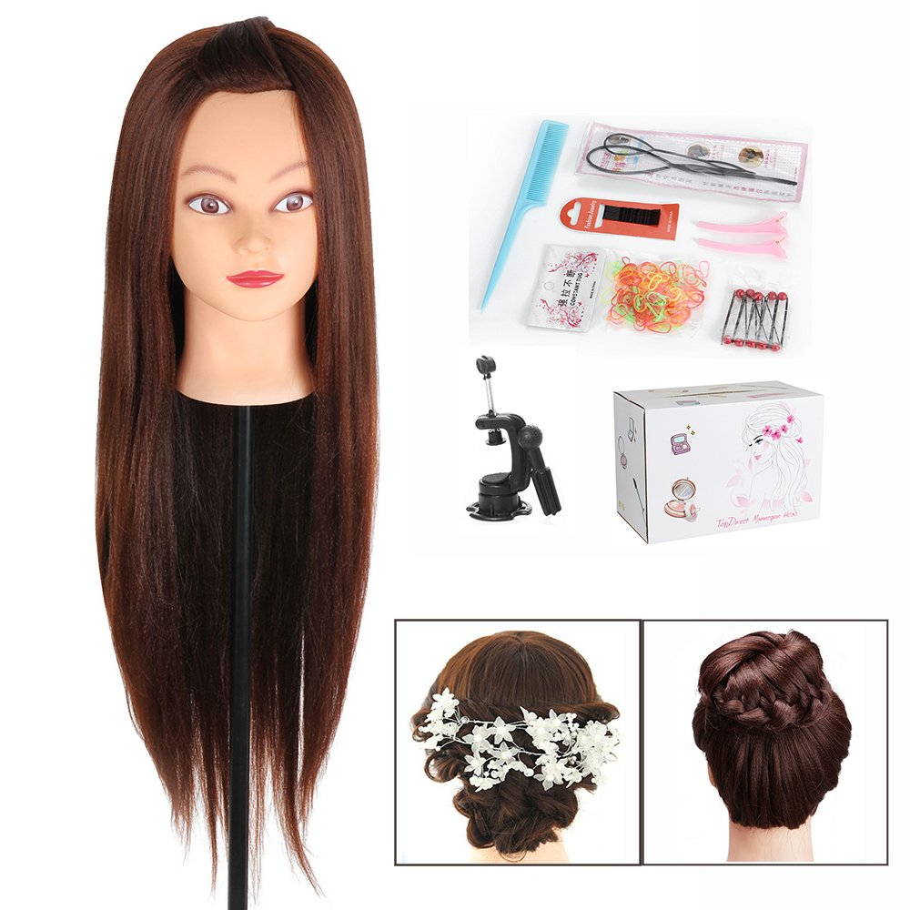 Cabeza Peluqueria, TopDirect 50cm/20 Pelo Sintético Cabeza Maniqui Peluqueria y Maquillaje para Practicar Peinados con Soporte Pinza