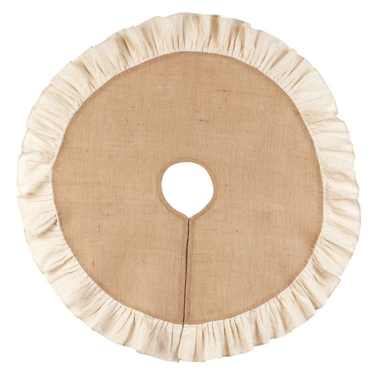 Burlap and Cream 36 Ruffle Country Tree Skirt by The Country House Collection