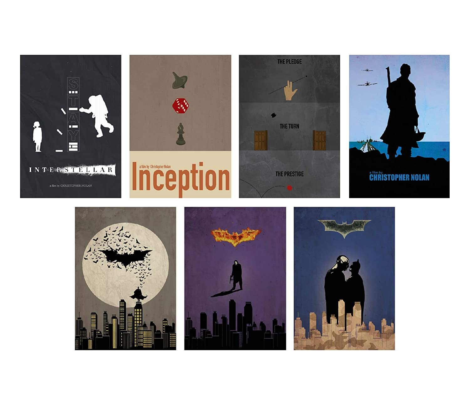 Christopher Nolan Minimalist Poster Set of 7 Films Interstellar Batman Begins The Dark Knight The Dark Knight Rises Inception The Prestige Dunkirk Print Wall Artwork Home Decor Hanging Cool Gift