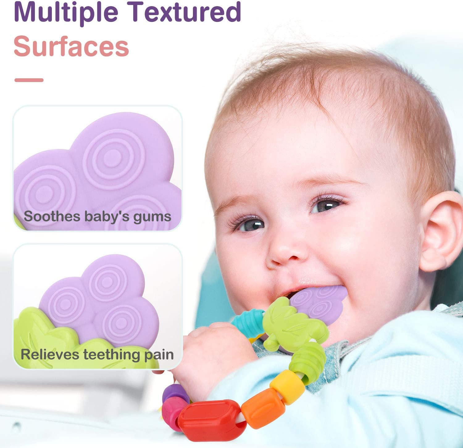 Grape Easy to Hold Zooawa Baby Teether Soft Teething Toys for Pain Relief BPA-Free Turnable Beaded Teether Toy for Infants and Toddlers
