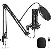 USB Condenser Microphone Kit, Computer Mic with Adjustable Scissor Arm Stand Shock Mount for Podcasting,YouTube,Gaming…
