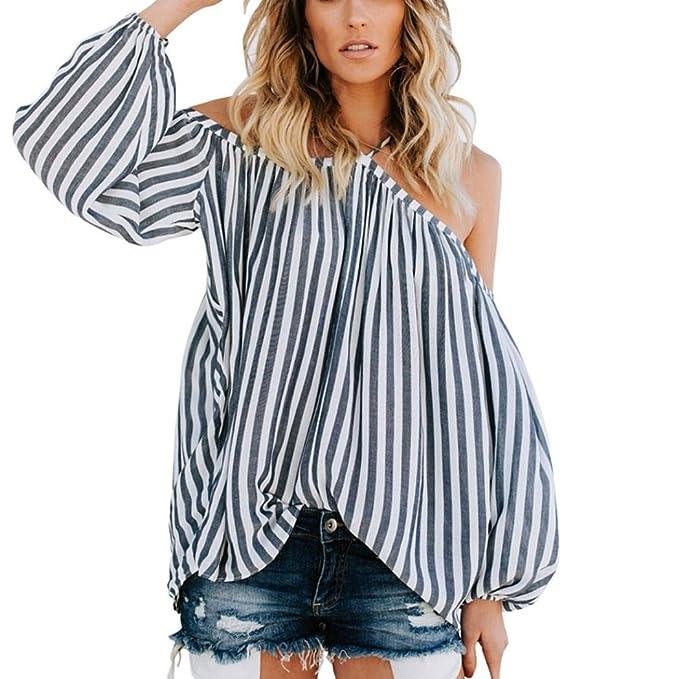 Sommer Tops Damen Hffan Frauen Reizvolle Schulterfrei Streifen drucken  Tanktop Weste Bluse Sommer T-Shirt b7e1ae980c