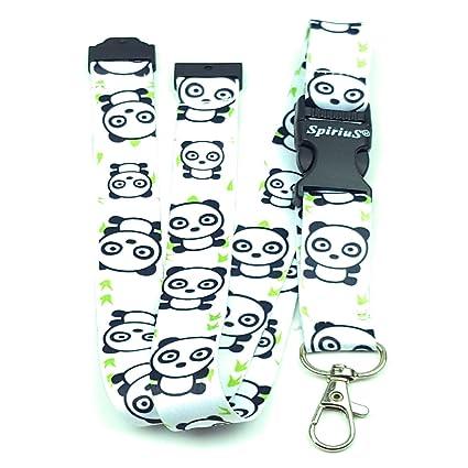 Correa para el cuello con mosquetón de metal fuerte para soportes de tarjetas de identificación o llaveros, de SpiriuS, color love panda