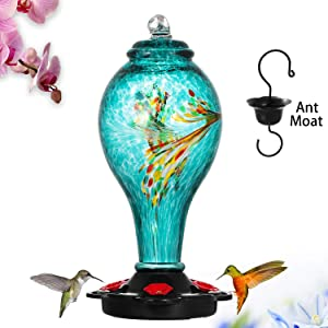 LUJII Hummingbird Feeder, Hand Blown Glass Hummingbird Feeder, Never Fade, 36 Fluid Ounces, 5 Feeding Metal Stations, More Biger, Garden Backyard Decorative, Containing Ant Moat (Blue)