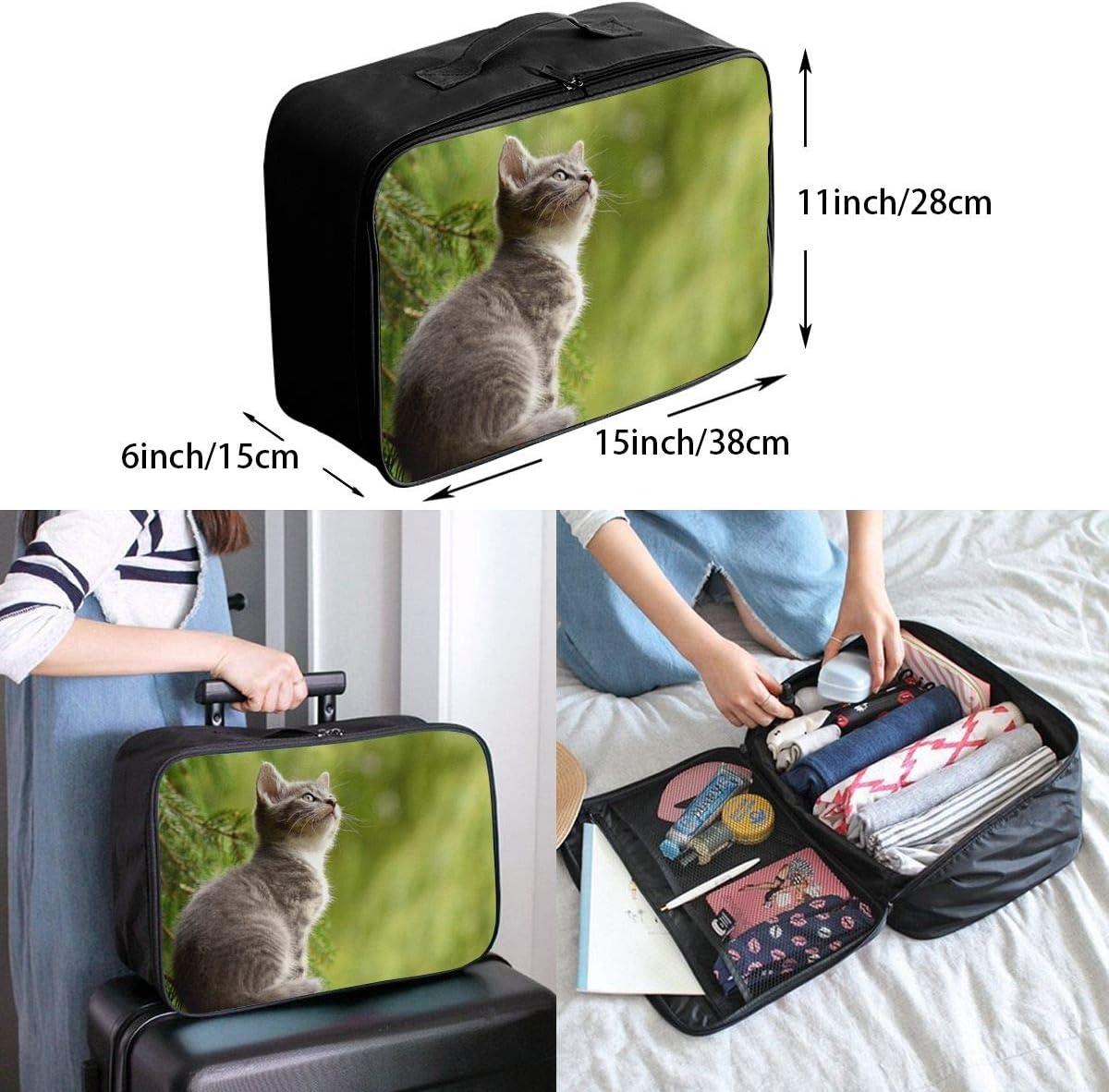 Kitten-cat Travel Carry-on Luggage Weekender Bag Overnight Tote Flight Duffel In Trolley Handle