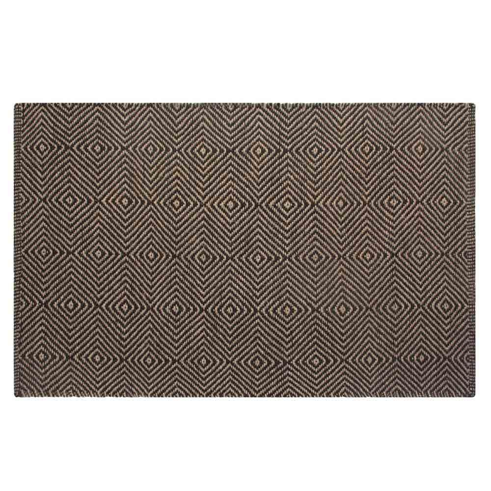 Homescapes Tappeto moderno con motivo geometrico, resistente, adatto per corridoi, soggiorni o verande, in iuta, Juta, Nero , 150 cm x 240 cm Others