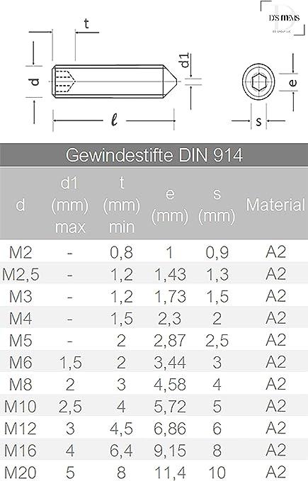 Gewindestifte M10 X 40 DIN 914 m - V2A Madenschrauben Spitze Edelstahl A2 10 St/ück