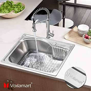 Voilamart 1 0 Single Bowl Stainless Steel Square Kitchen Sink With Drain Basket Size 560x410mm 22 X16 1 Amazon Co Uk Diy Tools