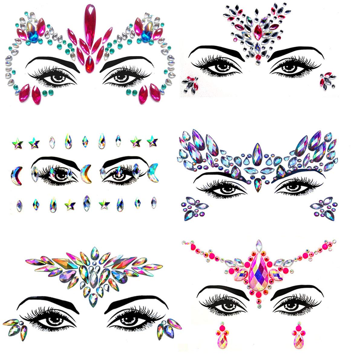 6Sets Temporary Tattoos for women Face Jewels stickers Glitter Face Gems Rhinestones – Eye Body Gems | Rhinestone Stickers | Body Glitter Festival Rave & Party Accessories