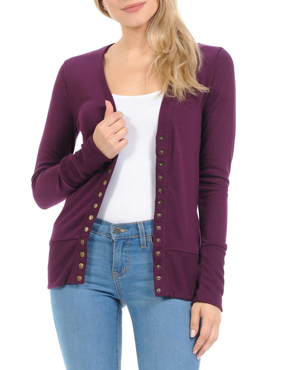Women's Snap Button Sweater Cardigan with Ribbed Detail, Plum, Large