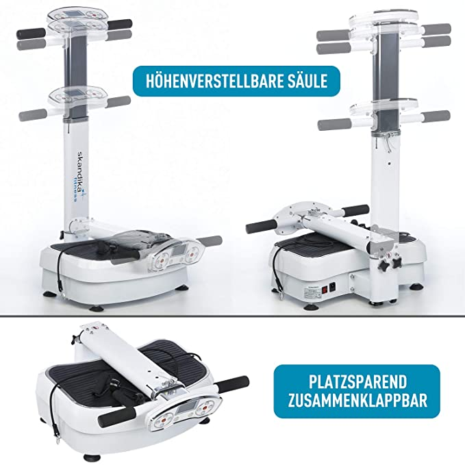 skandika SF-1400 Plataforma de vibración profesional con superficie de entrenamiento antideslizante, grande, bandas de entrenamiento, plegable, ...