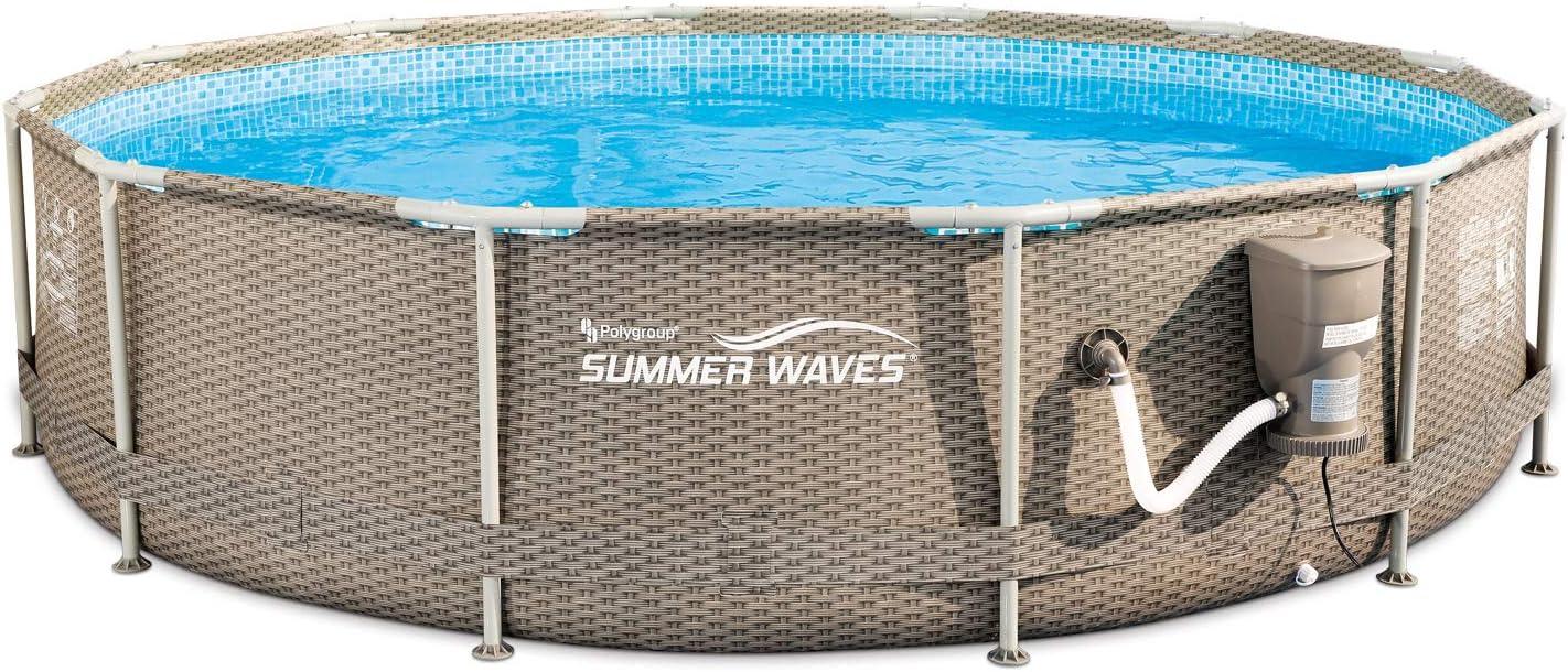 """Summer Waves 14/' x 48/"""" Above Ground Frame Pool Set w// Pump Dark Wicker"""