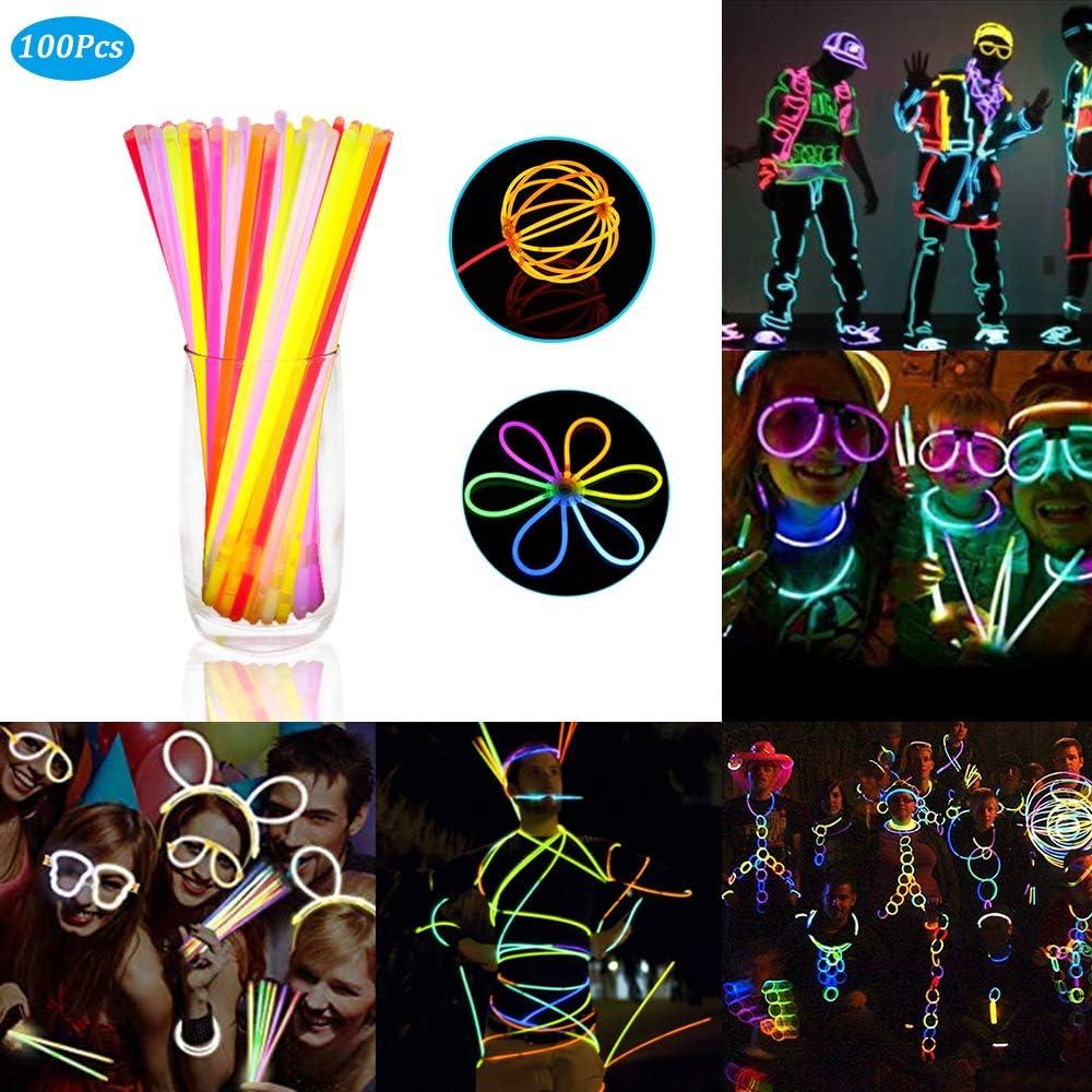 Zorara Varitas Luminosas,【1 Barril 100】 Pulseras Luminosas, Adecuado para Fiestas, Banquetes, Cumpleaños, Decoraciones de Carnaval: Amazon.es: Juguetes y juegos