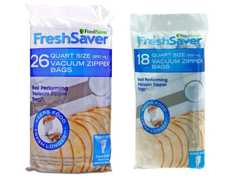 FoodSaver 1-Quart FreshSaver Vacuum Zipper Bags food storage, 26 Count (1) bundle with FoodSaver 1-Quart BPA-Free Multilayer Construction Vacuum Zipper Bags, 18 Count (1)