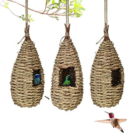 Hut Shape AQUEENLY Hummingbird Houses for Outside Hanging Set of 2 Hand Woven Hummingbird Nesting House Bird Lover Gifts for Audubon Finch Canary Chickadee