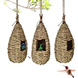 Gute Hummingbird House, Grass Hand Woven Birdhouses for Outdoors Hanging, Natural Bird Hut for Outside, Bird Houses for…