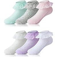 Adorel Calcetines con Volantes para Bebés Niñas 6 Pares