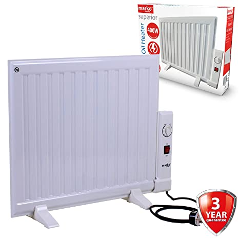 7d536845e73 Marko Electrical 400W Panel Heater Oil Filled Radiator Freestanding Home  Electric Fire Thermostat  Amazon.co.uk  Kitchen   Home