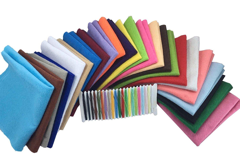 24 Hojas de Fieltro No Tejido Tela Fieltro Suave de Acrílico para Manualidades Patchwork Costura DIY Craft Trabajo 20*20cm Espesor 1,4mm Colores ...