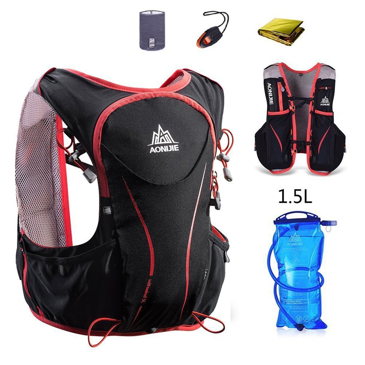 AONIJIE Hydration Pack Backpack Deluxe Lightweight 5L Outdoors Hydration Vest for Marathon Trail Running Race Hiking Camping Cycling (Black+1.5L Water Bladder, S/M)