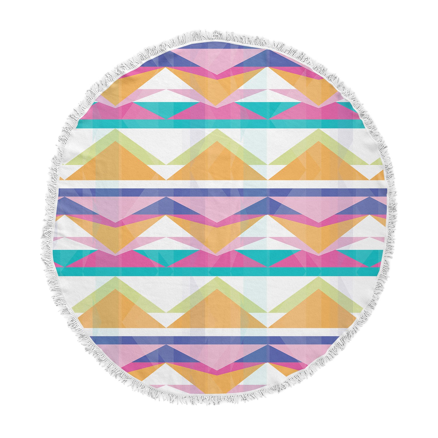 Kess InHouse Miranda MOL Triangle Waves Geometric Pattern Round Beach Towel Blanket