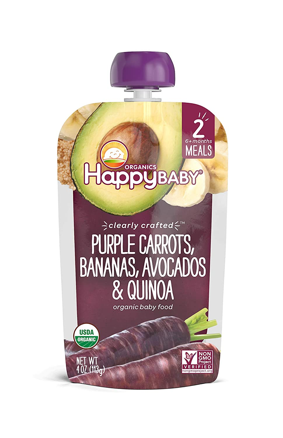 Happy Baby Clearly Crafted Stage 2 Meals Organic Baby Food, Purple Carrots, Bananas, Avocados & Quinoa, 4 Oz