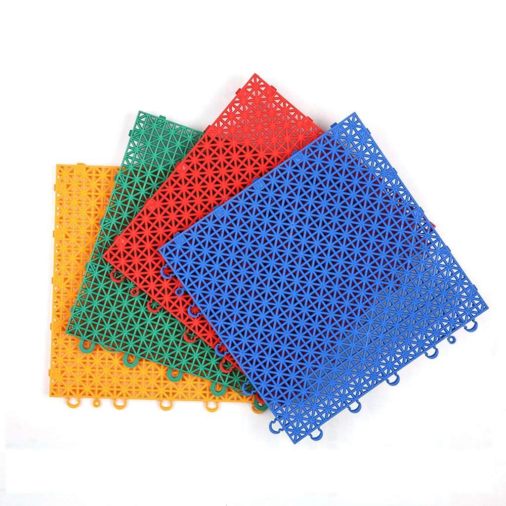 Indoor and Outdoor Suspension Assembling Mats Plastic Floor Waterproof Runway Kindergarten Park Basketball Court Multi-Color Optional Size Can Be Customized (Color : Blue4/Interlocking pad)