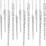 "24 Piece Set Kurt Adler 3.5""-5.5"" Assorted Clear Glass Icicle Ornaments (4)"