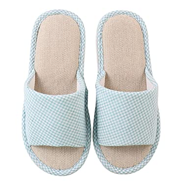 9857c04dd0fb8 Amazon.com | JULAN Casual Cotton Linen Open-Toe Home Slippers Soft ...