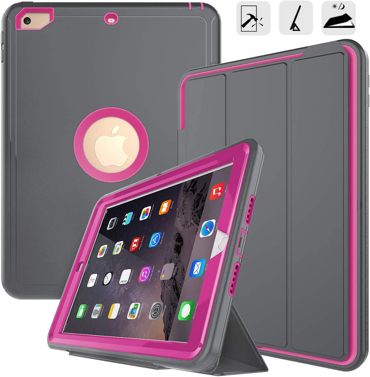 iPad 9.7 2017/2018 case-DUNNO Grid Non Slip Surface Three Layer Heavy Duty Full Body Protective Case for Apple iPad 9.7 2017, iPad (5th Generation) (Grey/Rose)
