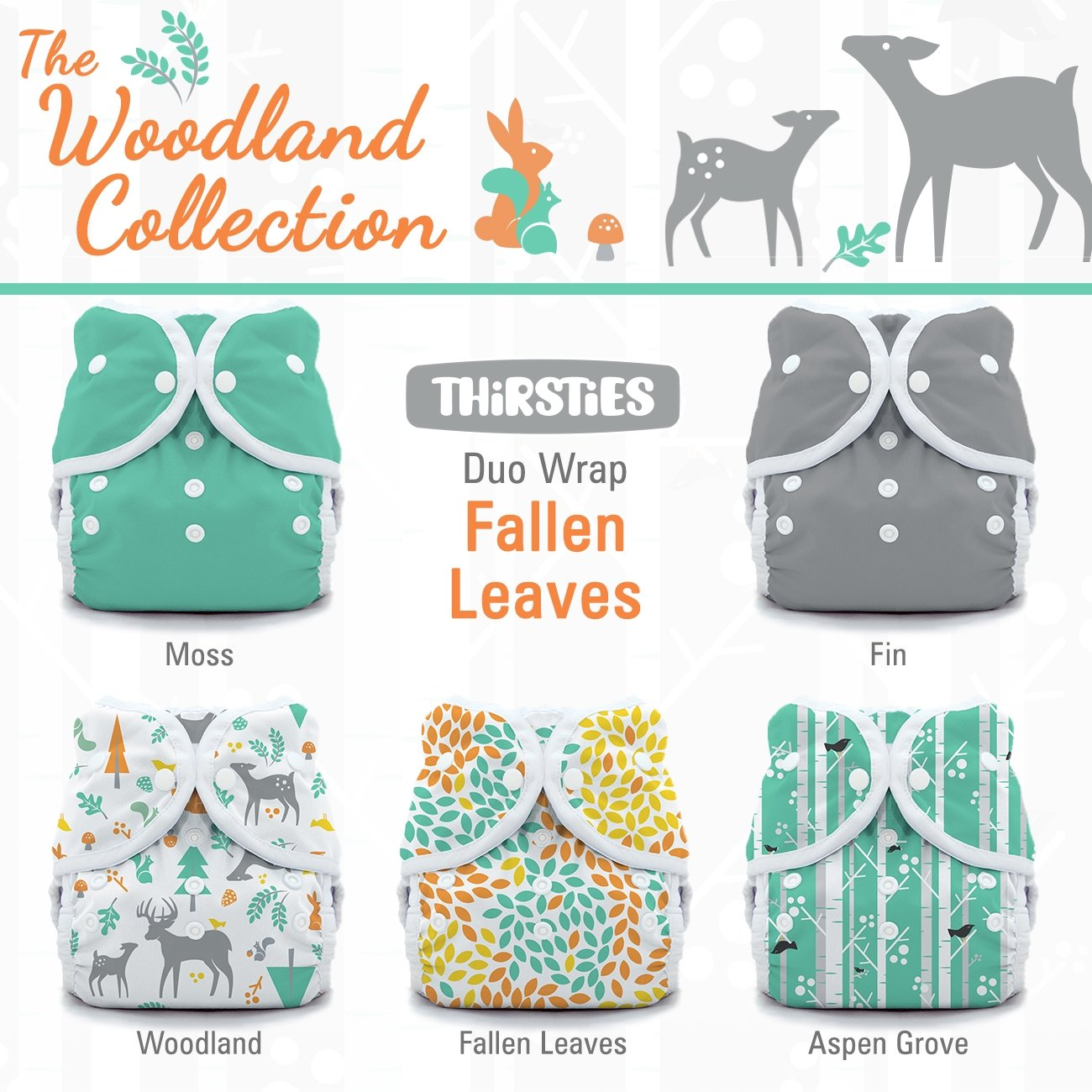 Thirsties Package-Snap Duo Wrap-Woodland Collection, Fallen Leaves Size One (6-18-Pound) TDWPSWCFL1
