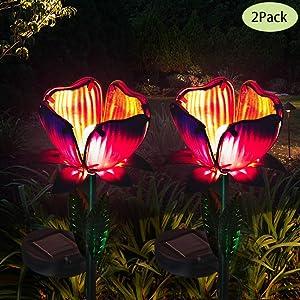 Luxbox Solar Lights Outdoor Decorative 2 Pack Flower Garden Lights Decor Glass Petal Metal Leaves Landscape for Pathway, Lawn, Patio, Yard Decoration
