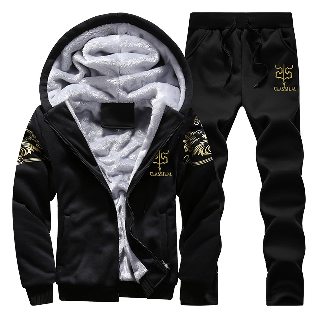 Modern Fantasy Men's Arrow Winter Thicken Lined Hoodie Sweatsuit Athletic Warm Tracksuit White XL